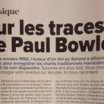"Articles in Telquel.ma ""Sur les traces de Paul Bowles"" (in French)"