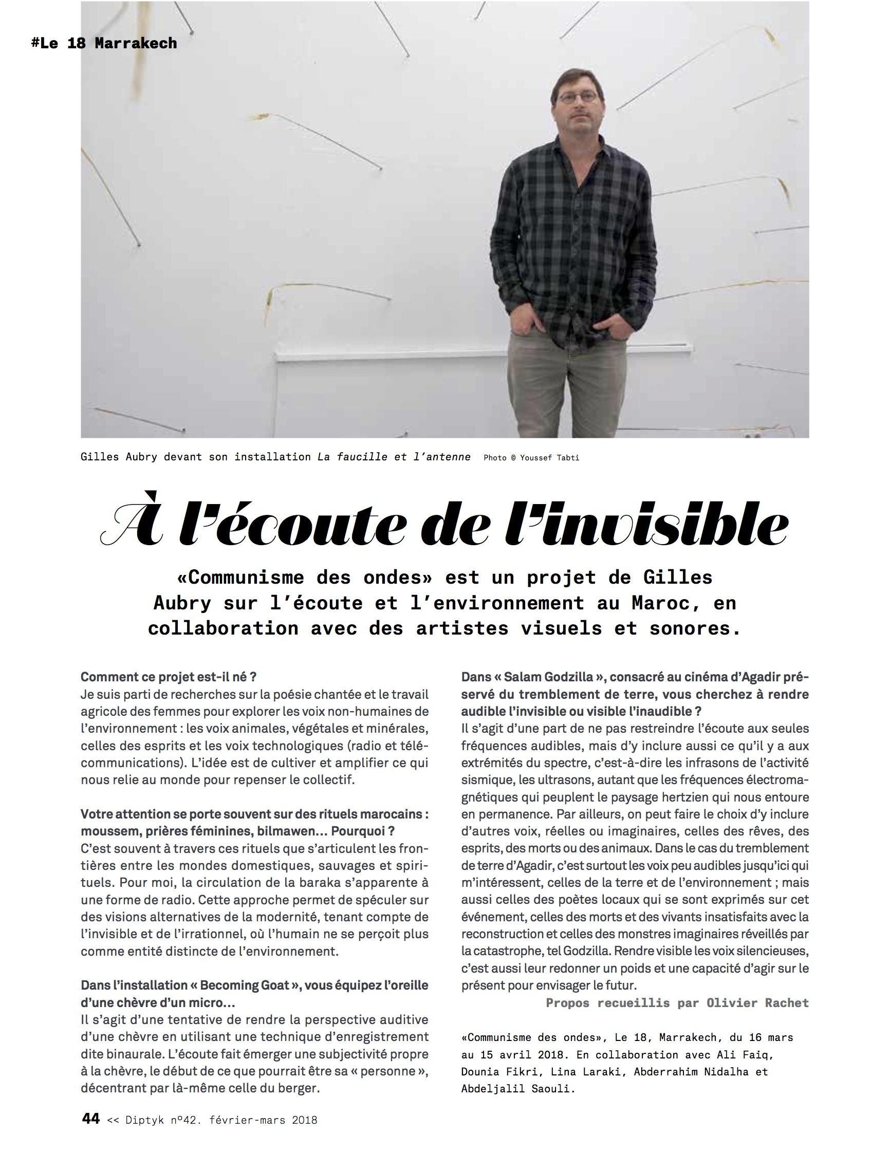 earpolitics net » Interview in Diptyk art magazine, February